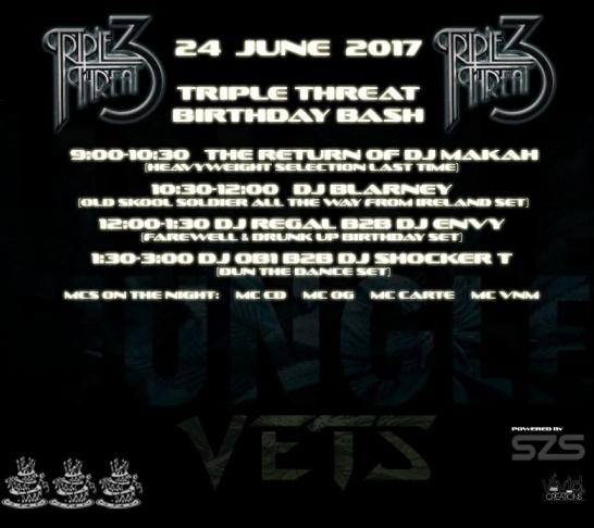 Jungle Vets Presents ......Triple Threat Birthday Bash