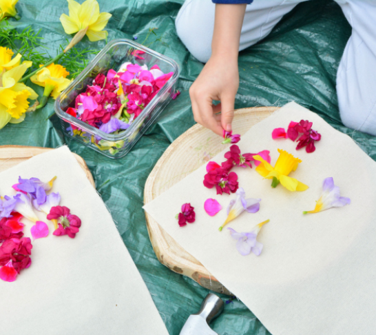 Hapa zome - the art of pounding flowers and leaf dying